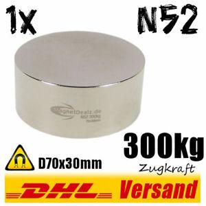 Neodym-Magnet-D70x30mm-7x3cm-300kg-N52-rund-starker-super-runder-Scheibenmagnet