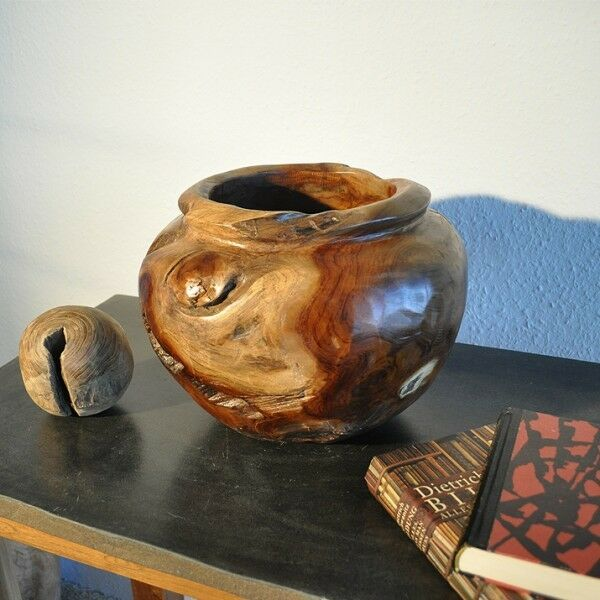Teakholz Vase Dekovase Holzvase Übertopf Blumentopf Dekoration Holz Aufbewahrung