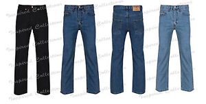 New-Mens-Straight-Leg-Regular-Fitt-Plain-Denim-Jeans-Mens