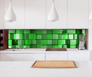 Adesivo Cucina Parete 3D Effetto Verde Mosaico Quadrati Decorazione ...