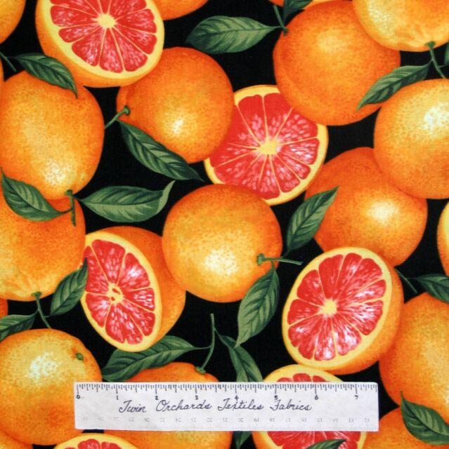 "Food Fabric - Fruit Grapefruit Toss Orange Black Timeless Treasures Cotton 26"""