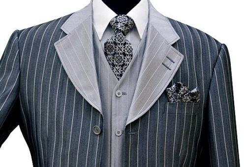 Men/'s 3 piece Luxurious Classic Gangster Pinstripe Wool Feel Suit 2911v