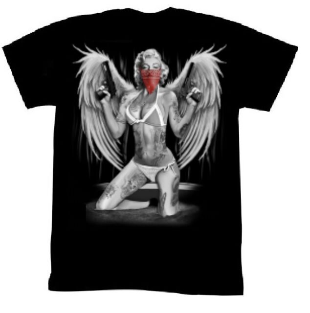 Marilyn Shirt Gangsta Tats Guns red Bandana Tee Marilyn Monroe T-Shirt NEW