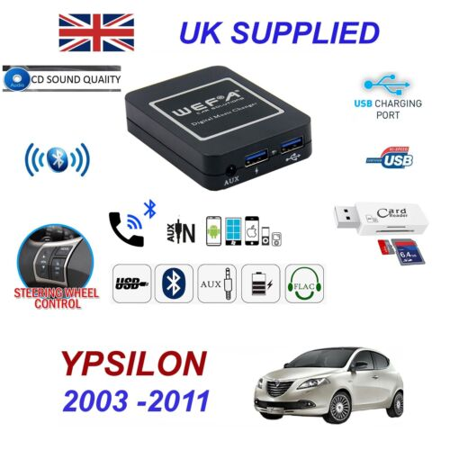 For Lancia Ypsilon Bluetooth Telephone Streaming AUX Input 2x USB SD Card Reader
