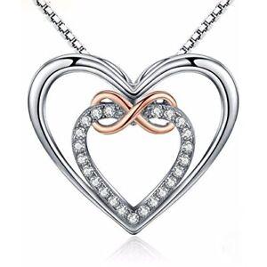 Details zu Damen 925 Sterling Silber Kette mit Unendlichkeit Doppel liebe  Herz Anhänger 18
