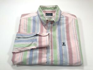 New PSYCHO BUNNY By Robert Godley White Striped Cotton Casual Shirt Size L