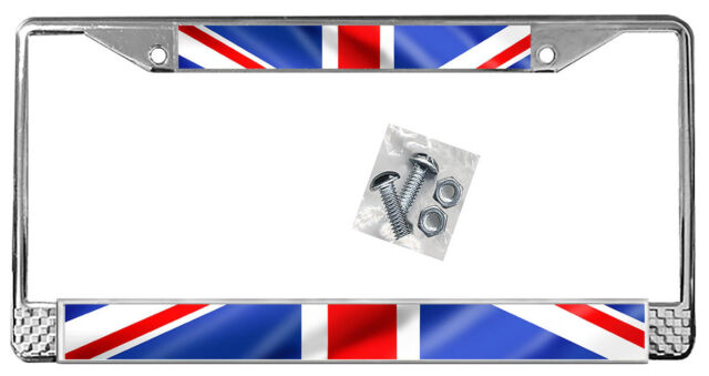 British Flag License Plate Frame Gift Polished Metal Union Jack ...