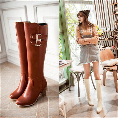 Gr.32-52 Damen Stiefel Overkneestiefel Block Absatz Damenschuhe kniehohe Stiefel