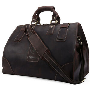 Men-039-s-TOP-QUALITY-Bull-Leather-Large-Luggage-Duffle-Gym-Bag-Travel-Sport-Bags