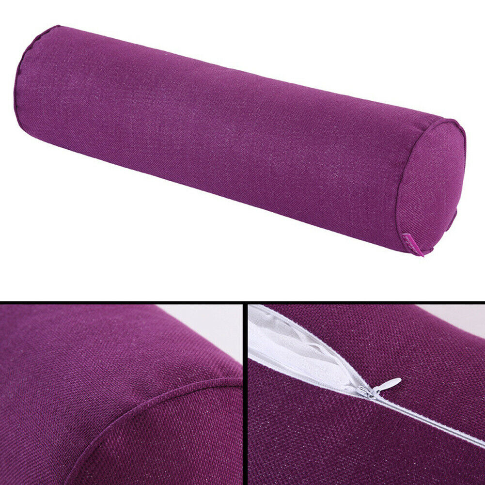 Round Cotton /& linen Pillow Cervical Roll Neck Back Knee Bolster Washable Cover