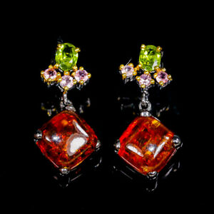 Design-Shop-jewelry-Natural-Amber-925-Sterling-Silver-Earrings-E32329