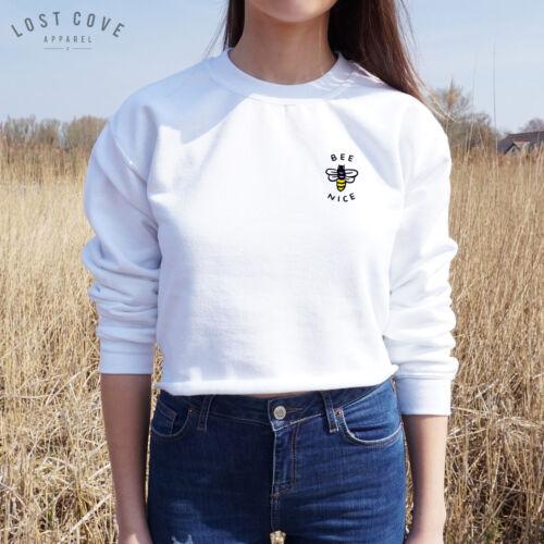 Bee Nice Crop Sweater Jumper Top Grunge Cute Tumblr Positive Pocket Be Slogan