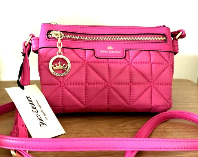 JUICY COUTURE Quilted Crossbody Bag Crown Jewel Flamingo Pink NWT Orig  49 31f25a619