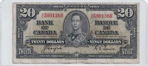 1937-20-Bank-of-Canada-Note-Prefix-H-E-Coyne-Towers-F-VF