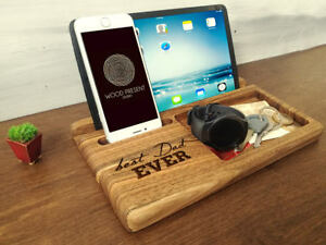 d8f7c881edc38 Image is loading Personalized-Docking-Station-Wood-Charging -Pnone-Stand-Fathers-