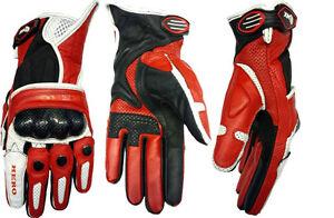 HERO-guanti-moto-rosso-estivi-HR-111-pelle-traforati-protezioni-Carbonio-tg-gt-XS