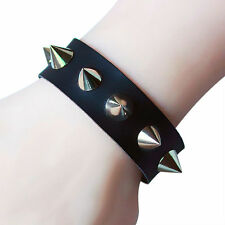 BLACK SILVER Spike rivetto borchie ecopelle Biker Punk Rock Goth Braccialetto