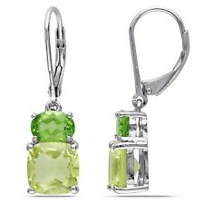 Amour Sterling Silver Lemon Quartz and Peridot Earrings