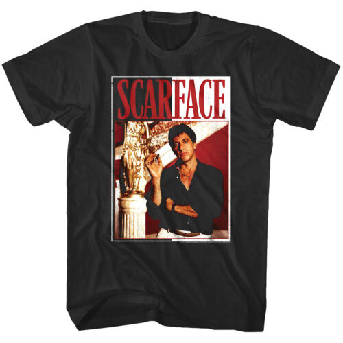 Scarface Tony Montana Rags to Riches Men/'s T Shirt Gold Statue Movie Villain Top