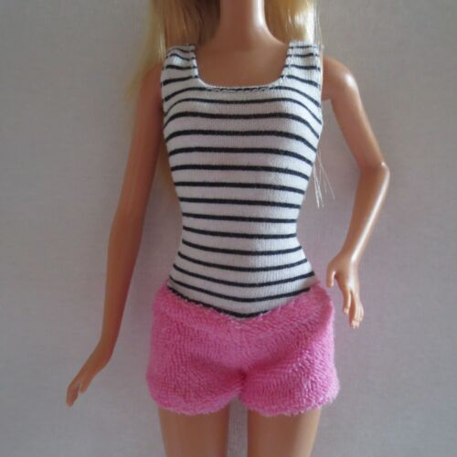 NEW Barbie Doll White Black Pink Romper 1 Piece Tank Top Terry Bottom ~ Clothing