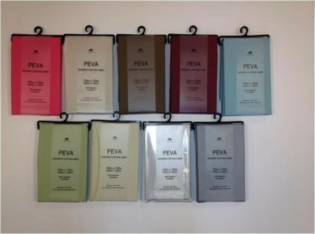 """72"""" X 72"""" Victoria Classics Peva Shower Curtain Liner with Magnets 11 Colors"""