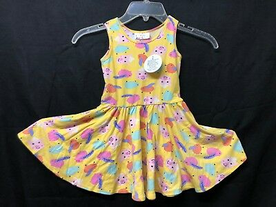 Nwt Dot Dot Smile Tank Sleeve Twirl Dress Summer Knit Yellow Pigs Print Grote Uitverkoop