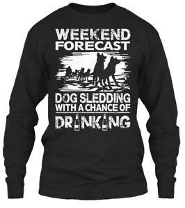 Weekend-Forecast-Dog-Sledding-With-A-Chance-Of-Gildan-Long-Sleeve-Tee-T-Shirt
