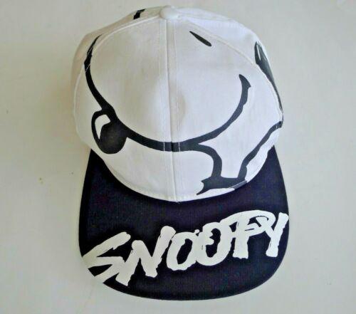 Vintage White & Black Snoopy Baseball Cap Hat Snap