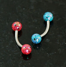 2 Pc Pink and Blue Aurora Borealis Coating Splash Acrylic Ball Eyebow Rings