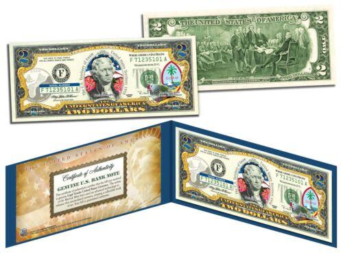 GUAM $2 Statehood GU Territories Two-Dollar US Bill Genuine Legal Tender w//Folio