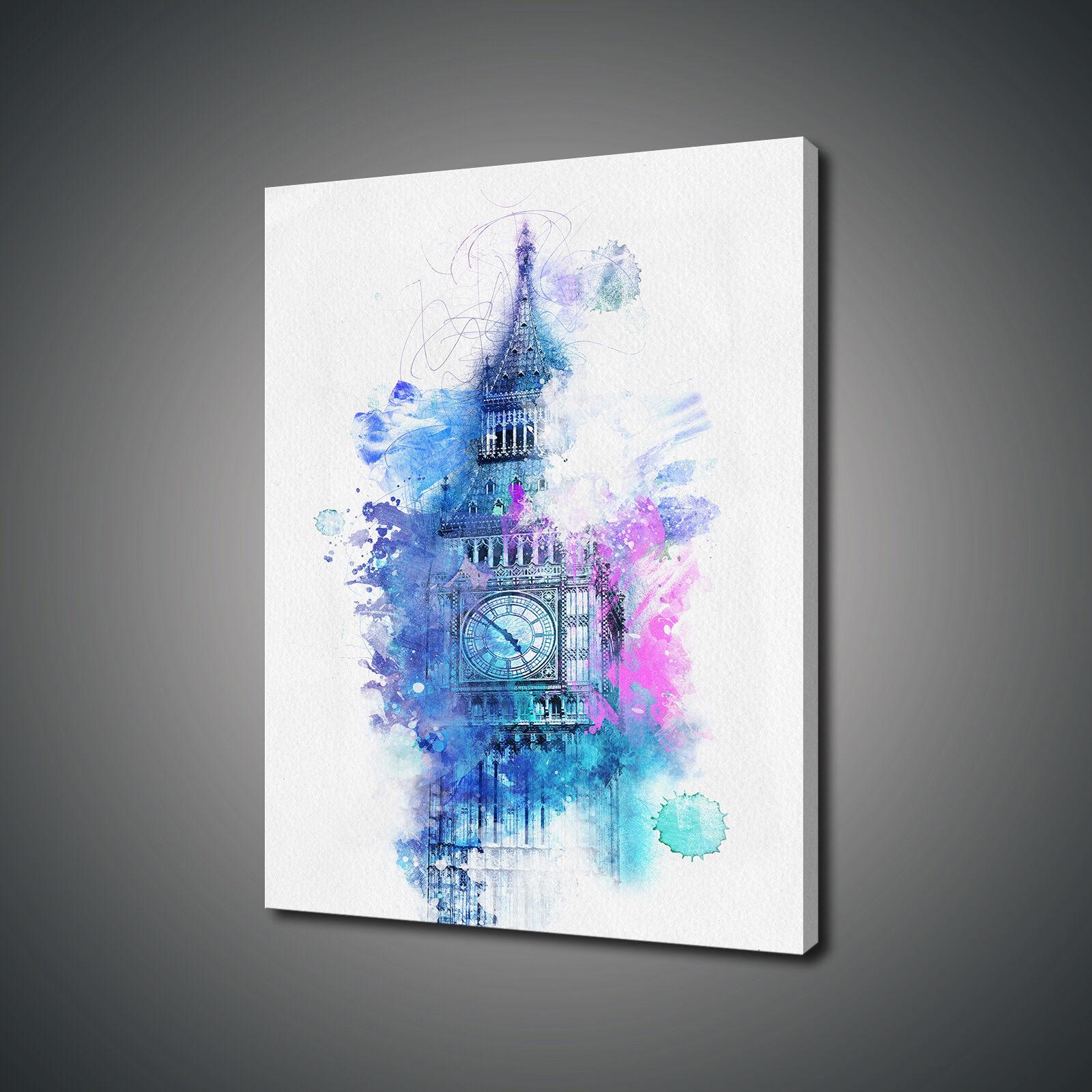BIG Ben Londra stile dipinto ad Acquerello stampa art. a muro FOTO PHOTO