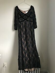 Victor-Costra-Nahdree-Lace-Gown-Velvet-Bodice-Womens-10-Small-Medium-Dress-Black
