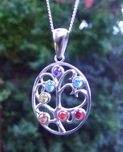 925 Silber Shakra Anhänger Baum des Lebens mit Zirkonia in Aura Farben Feng Shu