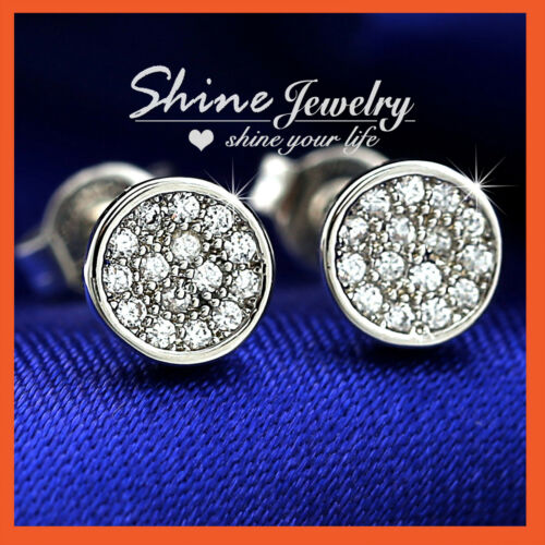 18K YELLOW WHITE ROSE GOLD GF CT LAB DIAMOND MEN WOMEN GIRLS ROUND STUD EARRINGS