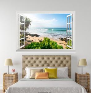 3D Beach Plant 418 Open Windows WallPaper Murals Wall Print Decal Deco AJ Summer