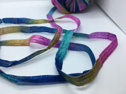 "Memento Blue Orchid Teal Gold 88y 3//8/""wd Berlini Ribbon Yarn #97 Kensington"