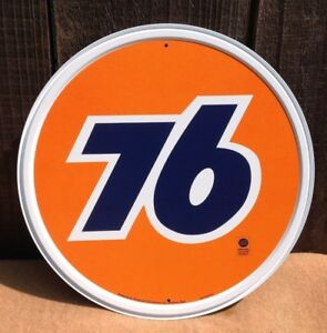 Union 76 Gasoline Orange Round Metal Sign Tin Vintage Gas Oil Garage Rustic