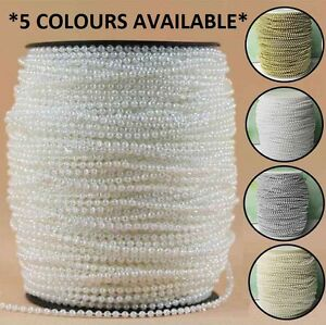3mm-Pearl-String-5-Metre-Trimming-Beads-Ivory-Iridescent-White-Gold-Silver