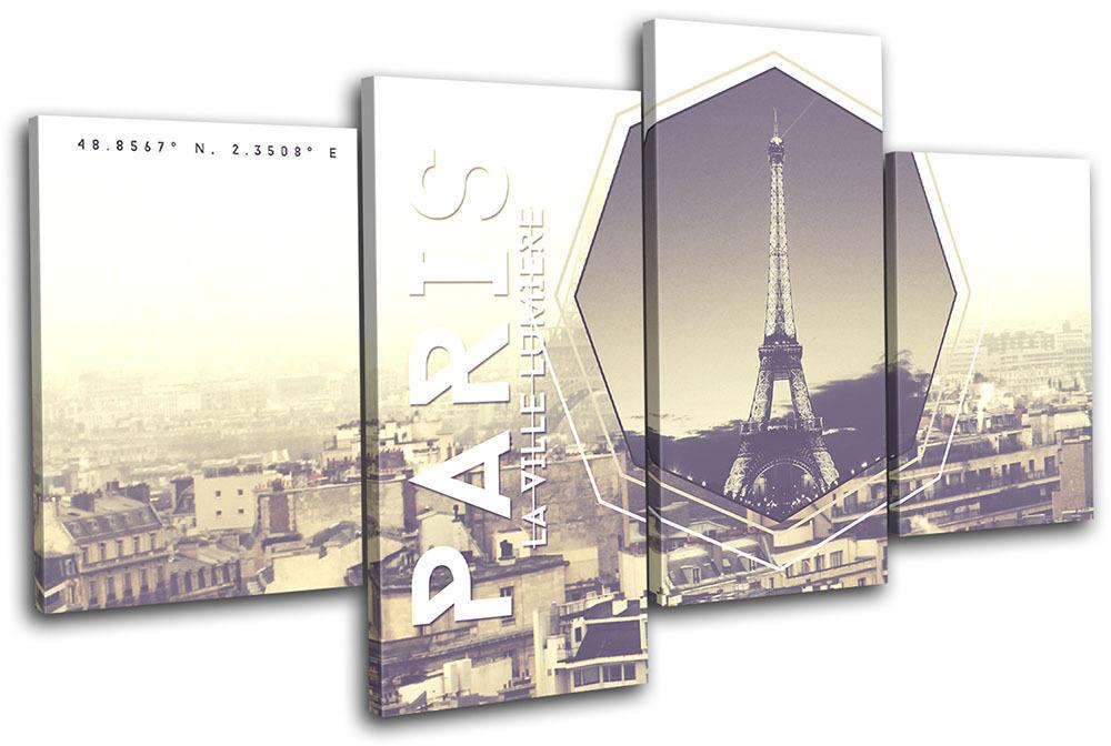 Paris Typography City City City MULTI TELA parete arte foto stampa aba7ba