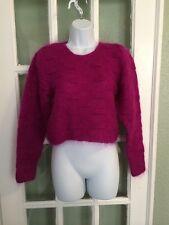 Vintage Christian Dior Sweater Sz S Magenta Pink Purple Mohair Crewneck Crop