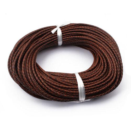 1 m 3 mm 3.5 mm 5 mm Rond Tressé Véritable Cordon Cuir Pour Bracelet Bijoux