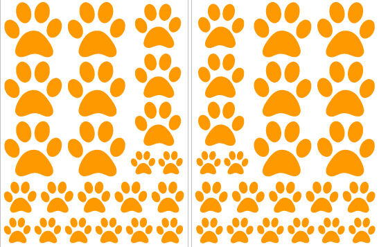 ORANGE PAW PRINTS-2 sheets total of 44 pieces VINYL WALL DECAL STICKER DOG CAT
