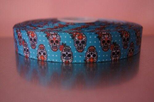 1377 Totenköpfe auf Blau 22mm Breite Ripsband Webband Borte