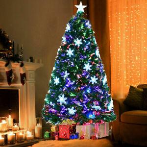 4/5/6FT Fiber Optic Artificial Christmas Tree w/Multicolor Lights Snowflakes USA | eBay