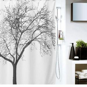 Waterproof Fabric Shower Curtain, Tree Design ( Limited Edition) White