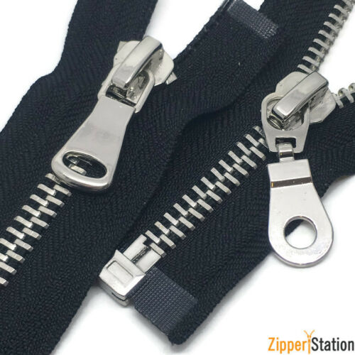 S8OE Polished Silver No8 Teeth Zip//Metal Open End heavy Duty Zipper