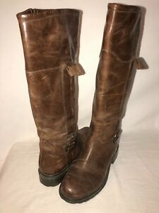 Details about GEOX Ortisei ABX D1348A Womens 39 US 9 Oiled Leather Riding Boot Lug Sole Coffee