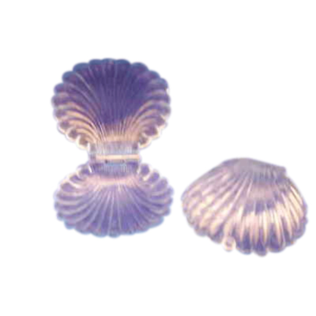 12 Medium Plastic Shell Candy Boxes favors CLEAR blue