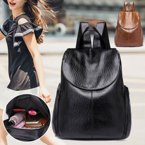 Casual Bag Backpack Leather theft Shoulder black Pu Purse School Women Brown Anti Waterproof 0Nvmnw8