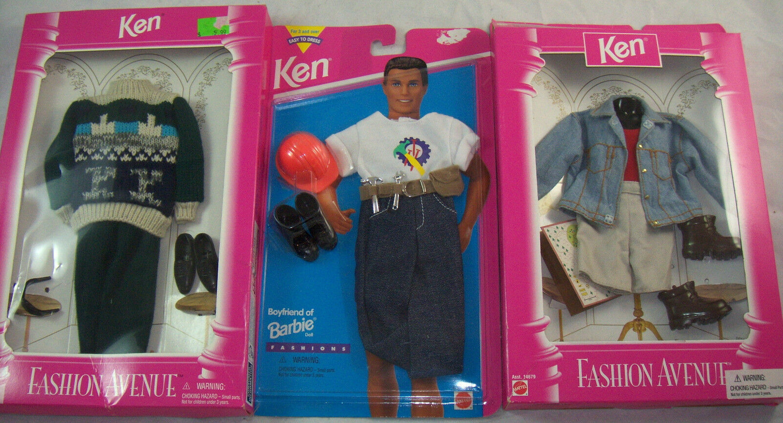 Neu Lot 3 Modischer Avenue & Einfach zu Kleid Outfits für Ken Puppe NRFB Barbie